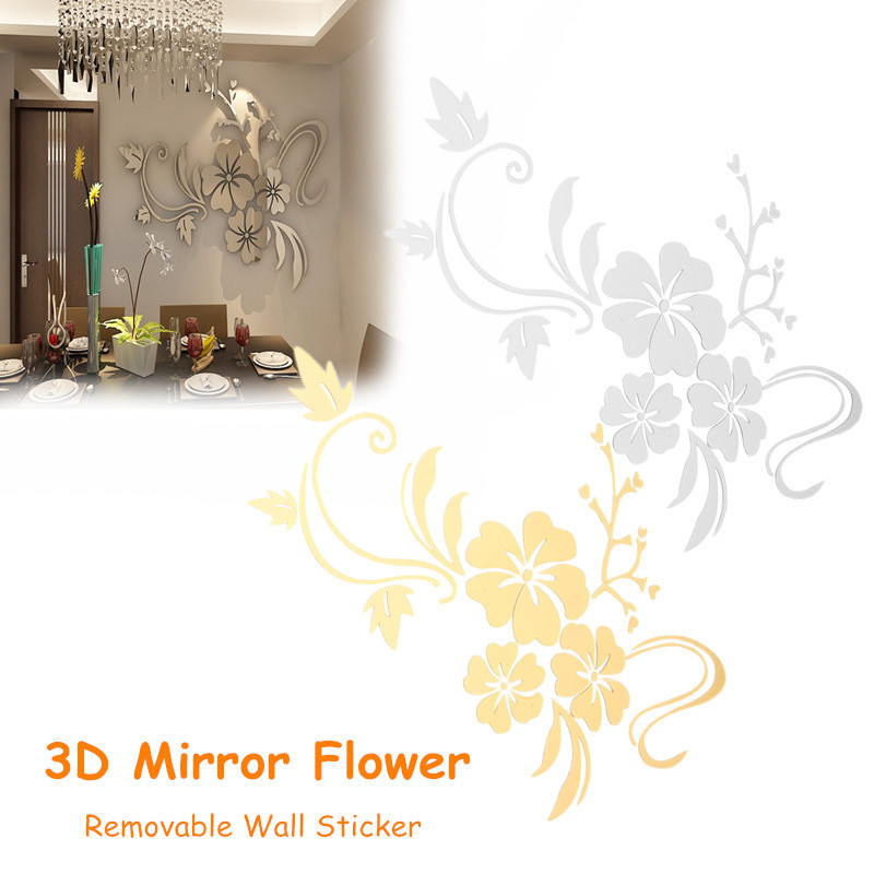 3D Mirror Flower Art Removable Wall Sticker Acrylic Mural Decal Home Room Decor 2