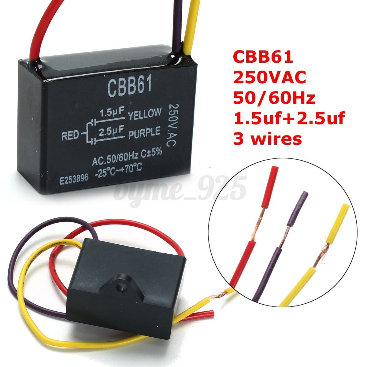 CBB61 1.5uF+2.5uF 50/60Hz 3 Wire 220V AC Ceiling Fan Capacitor -25 ...