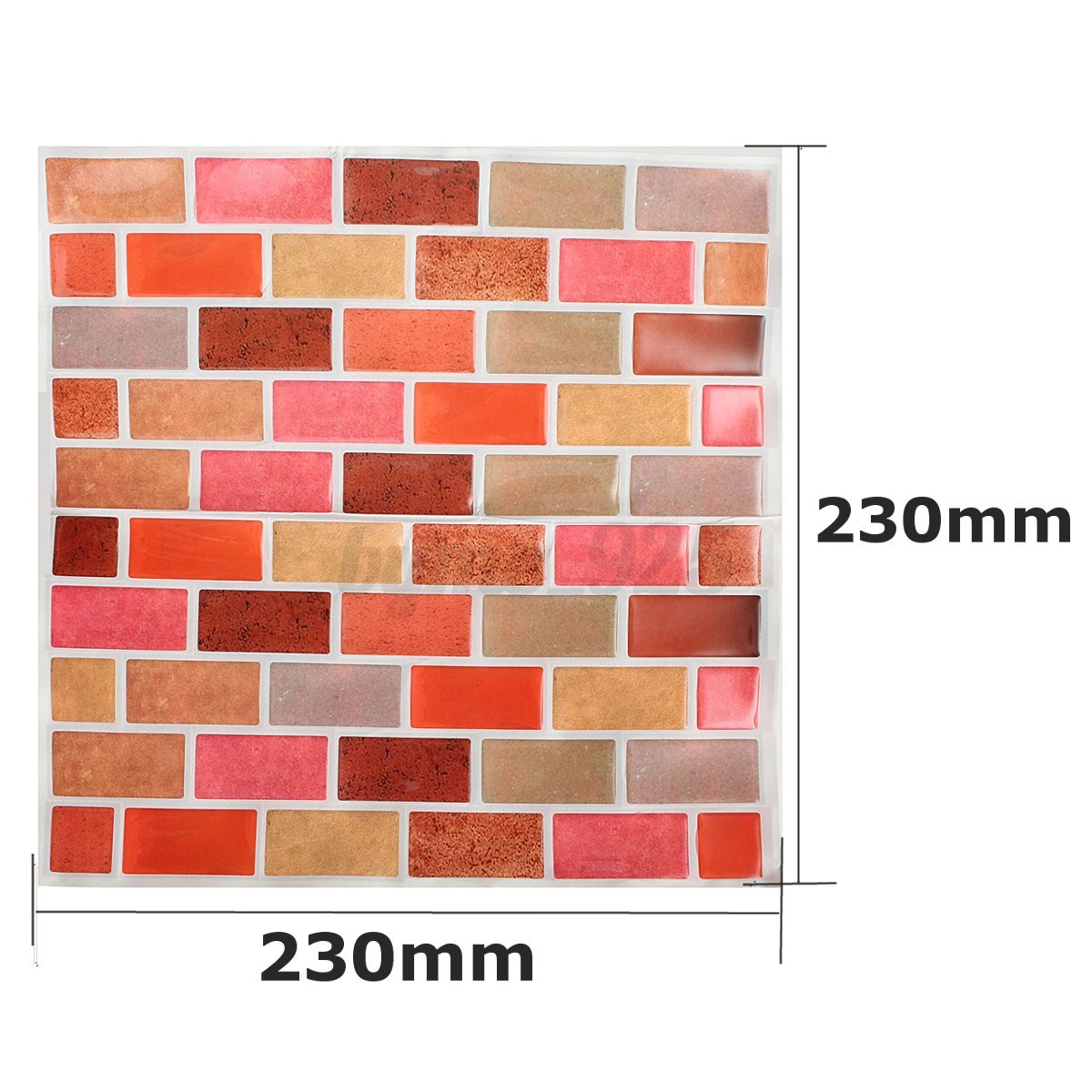 Orange Mosaic Tile 3D Wallpaper Sticker Home Decor Bathroom Kitchen DIY 230mm