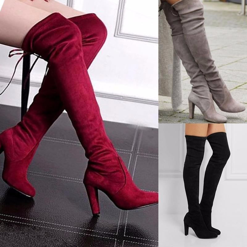 Women Long Boots Over Knee High Heel Thigh Winter Autumn Slip-on ... 8054c439fd