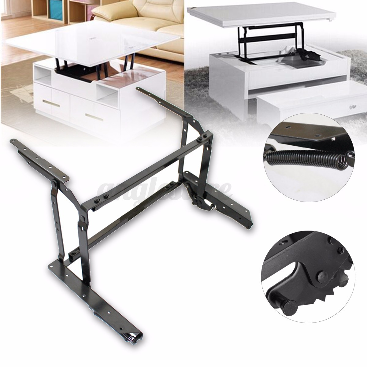 New Coffee Table Lift Top Hardware Fitting Furniture Mechanism Spring Hinges Ebay