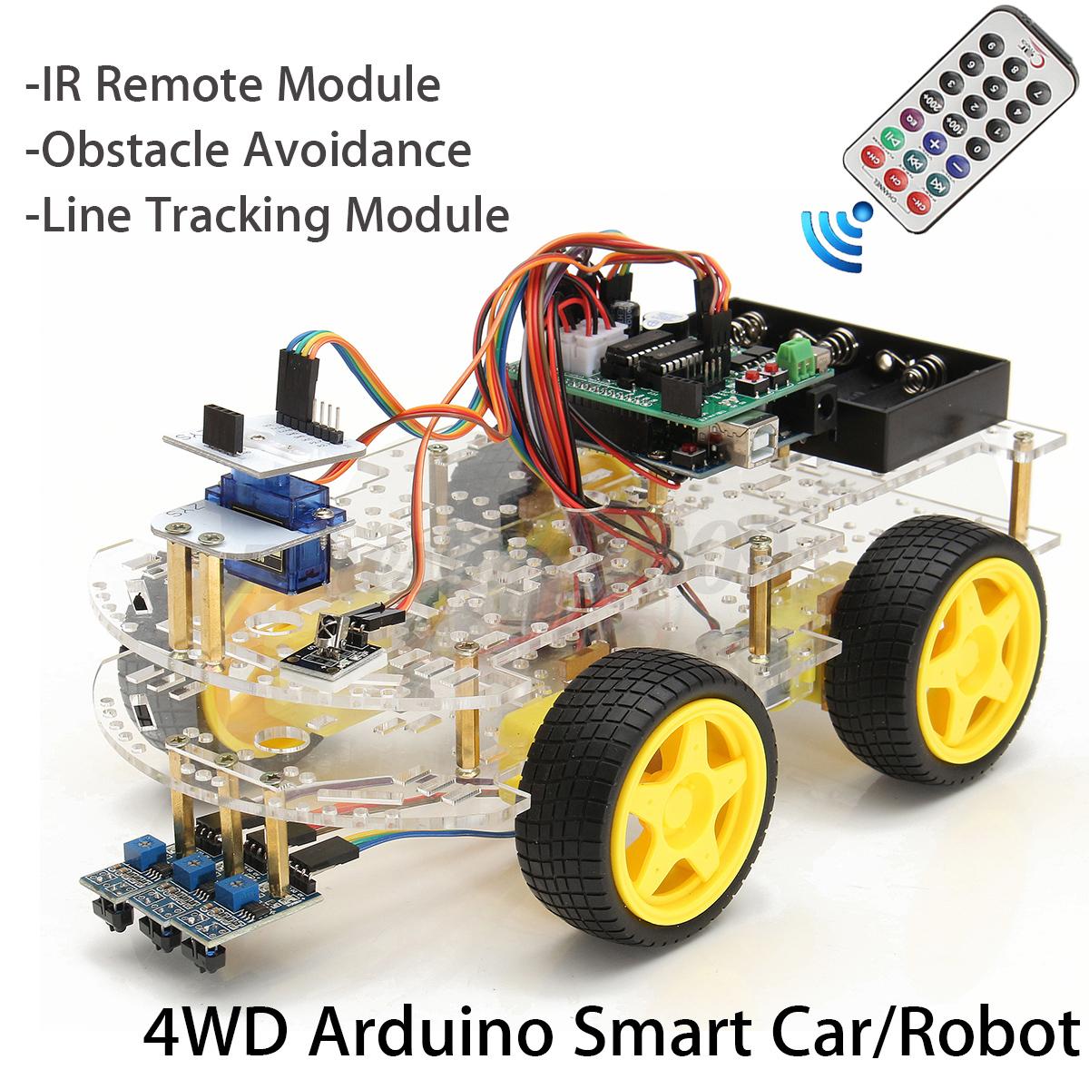 Wd robot smart rc car diy kit ir control line tracking