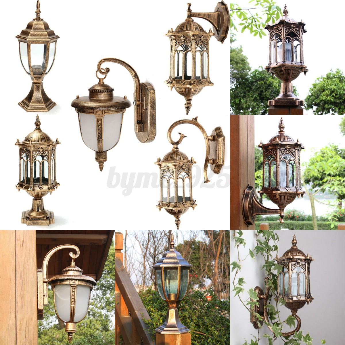 220V Vintage Exterior Wall Post Lighting Sconce Hanging Landscape Garden Lamp eBay