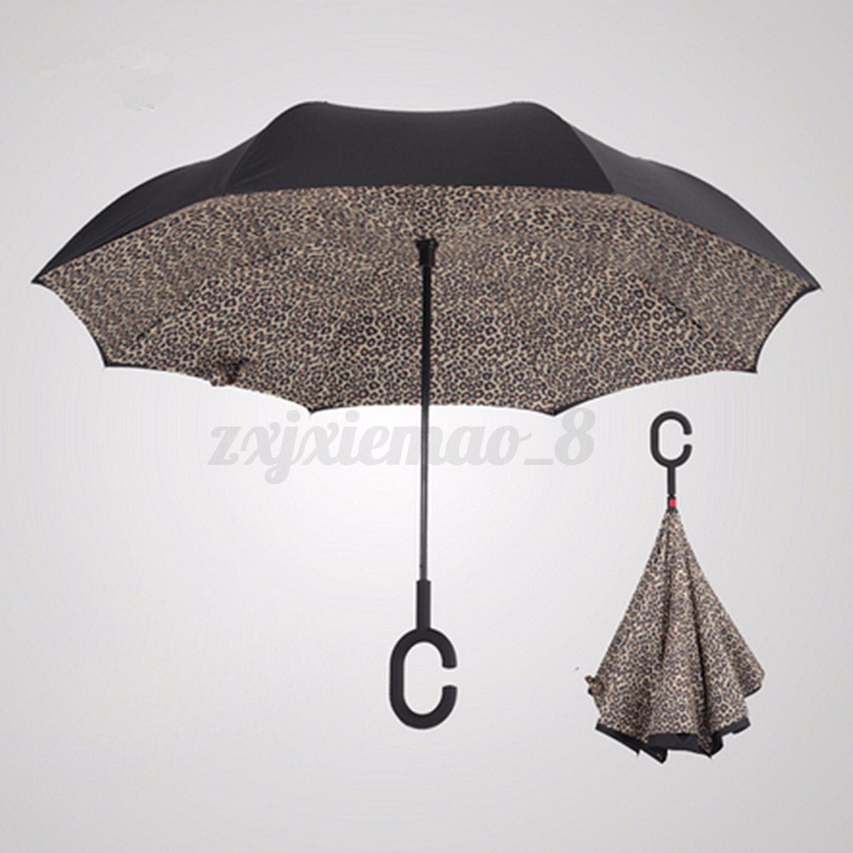 Windproof Upside Down Double Layer Reverse Umbrella C