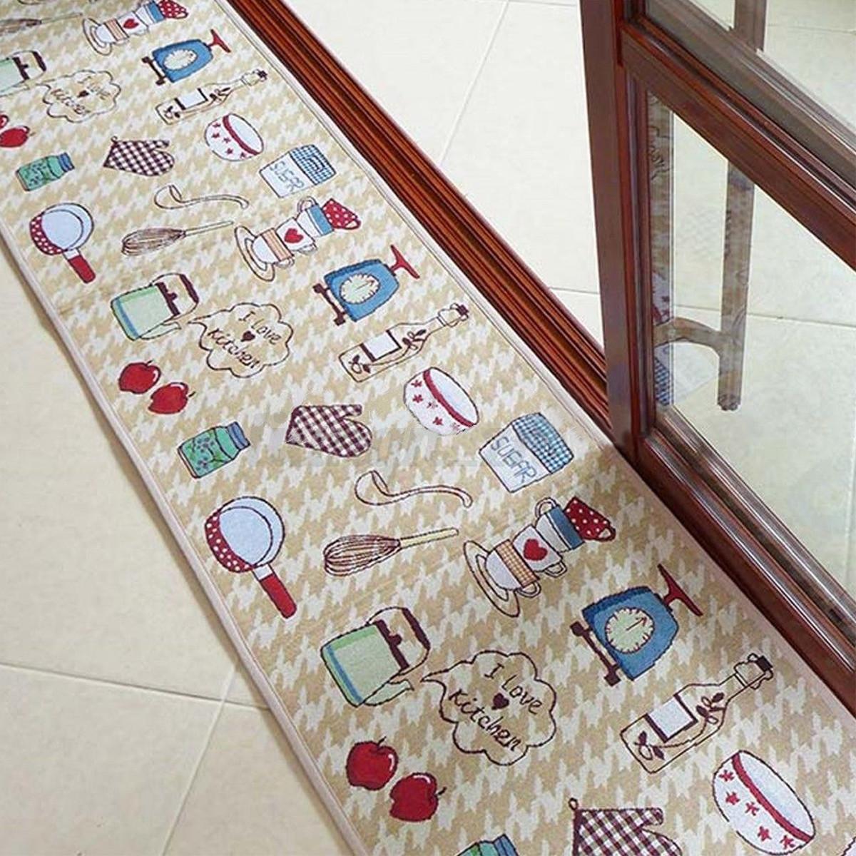 Jacquard Non Slip Rug Kitchen Bedroom Floor Mats Hallway ...