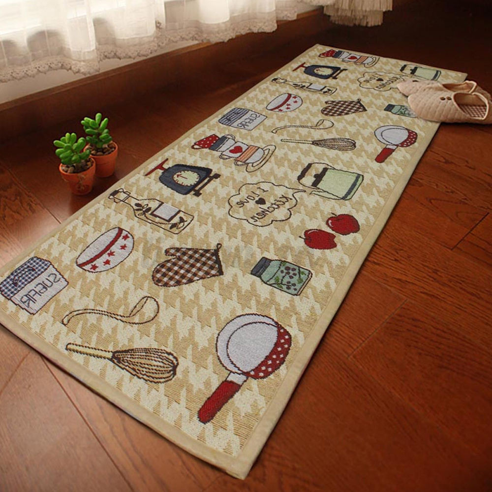Jacquard Non Slip Rug Kitchen Bedroom Floor Mats Hallway
