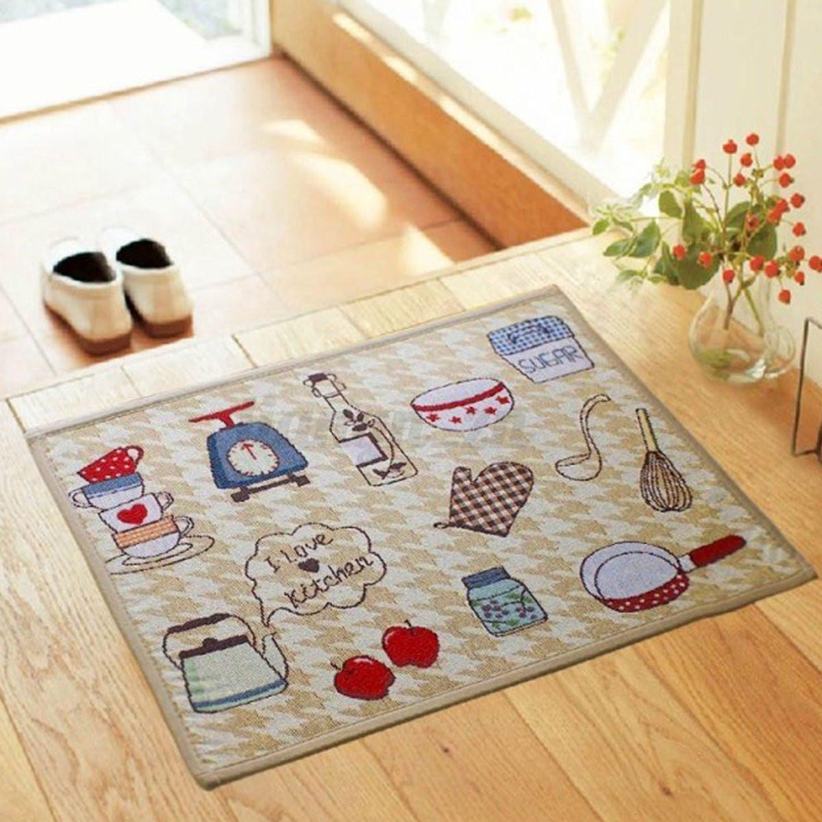 Jacquard Non Slip Rug Kitchen Bedroom Floor Mats Hallway
