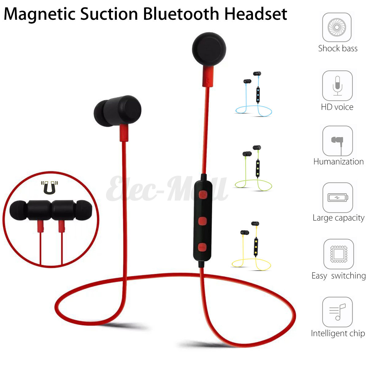 Red earbuds magnetic - bluetooth earbuds magnetic switch