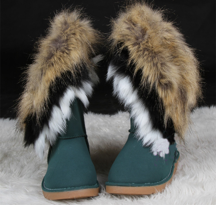 Winter Warm Womens Leather Rabbit Faux Fur Suede Mid Calf Pull On Snow Boots