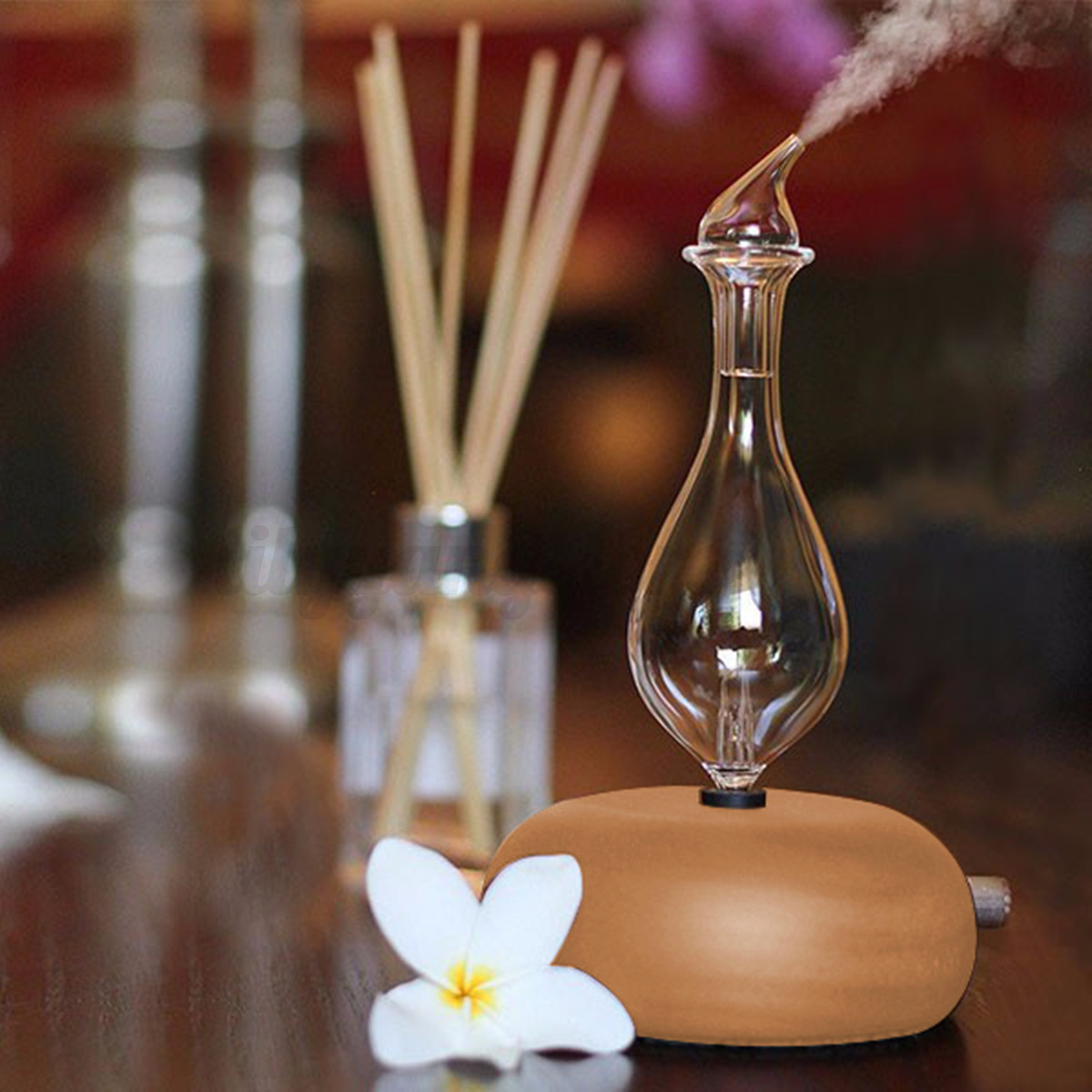 Wood Amp Glass Aromatherapy Essential Oils Diffuser Air Nebulizer Humidifier Ebay