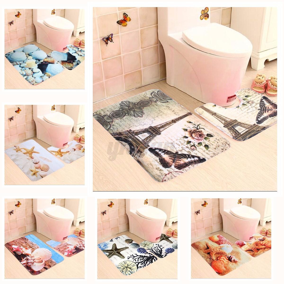 Different Types Of Bathroom Flooring: 2Pcs 6 Types Floor Bath Mat Set Anti-slip Bathroom Carpet