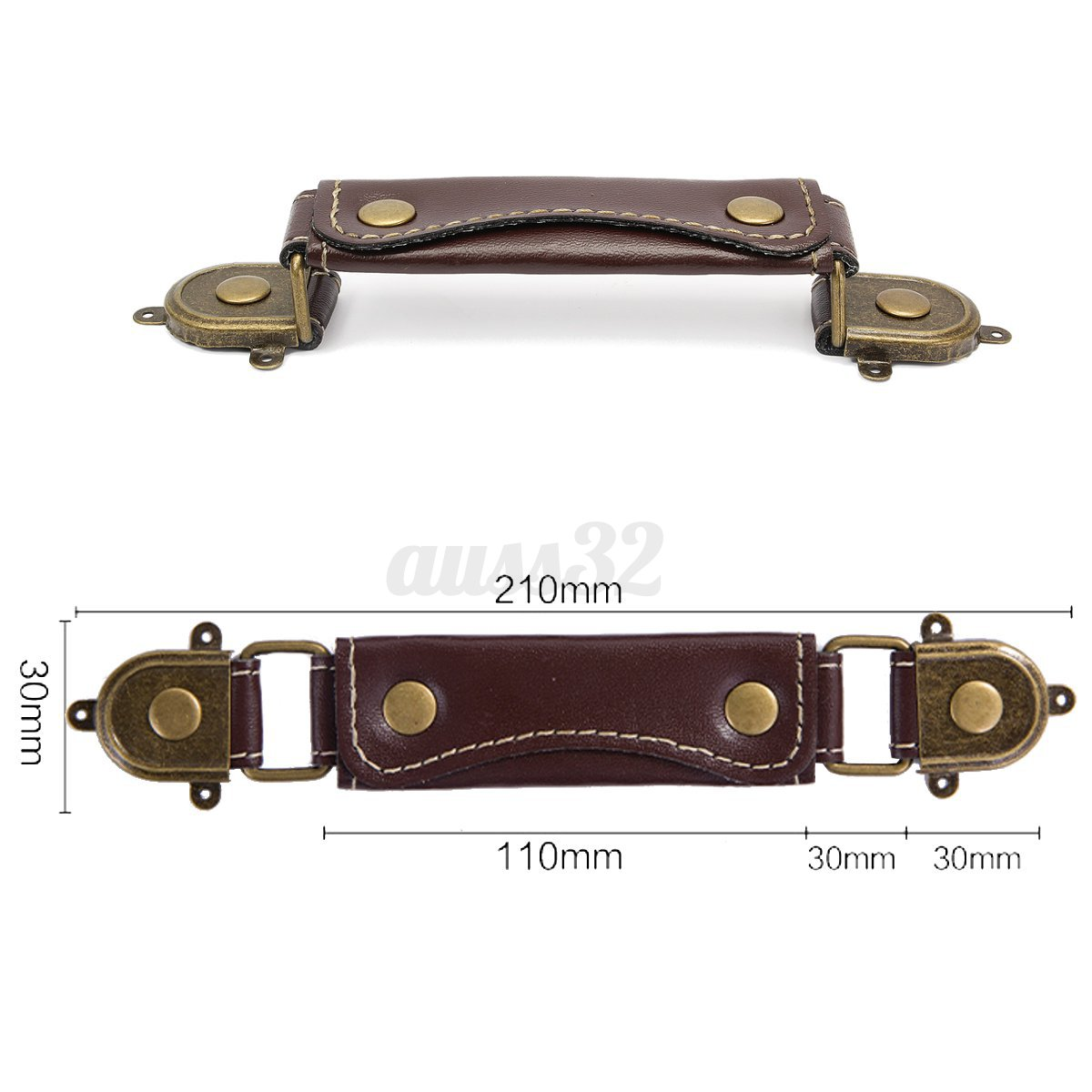"210mm/8"" Brown Leather Suitcase Luggage Case Box Handle ..."