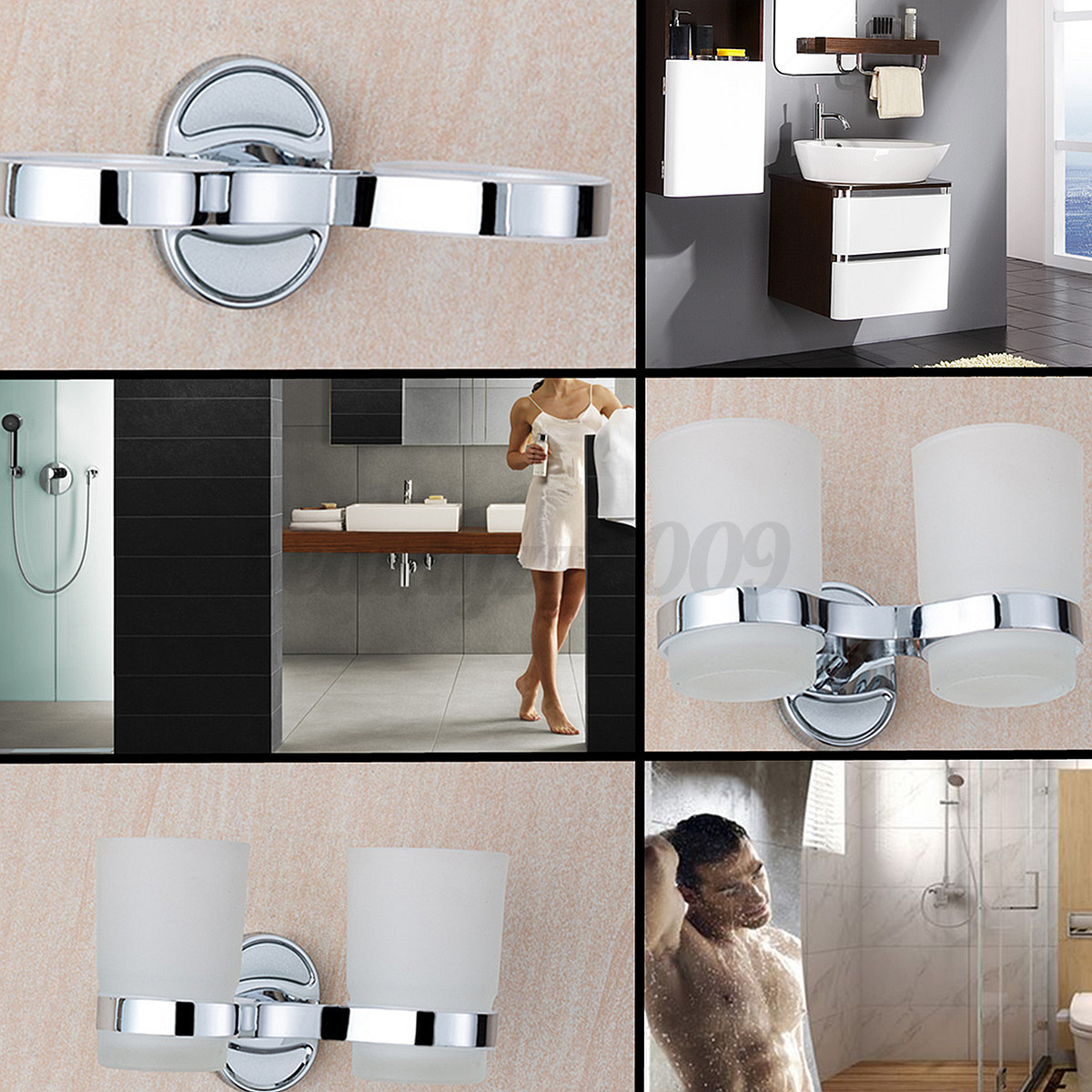 Bathroom chrome plating wall mounted dual cups toothbrush for 7x9 bathroom design