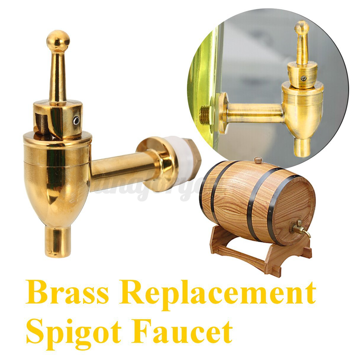brass replacement spigot faucet for wine barrel beverage drink dispenser tap. Black Bedroom Furniture Sets. Home Design Ideas
