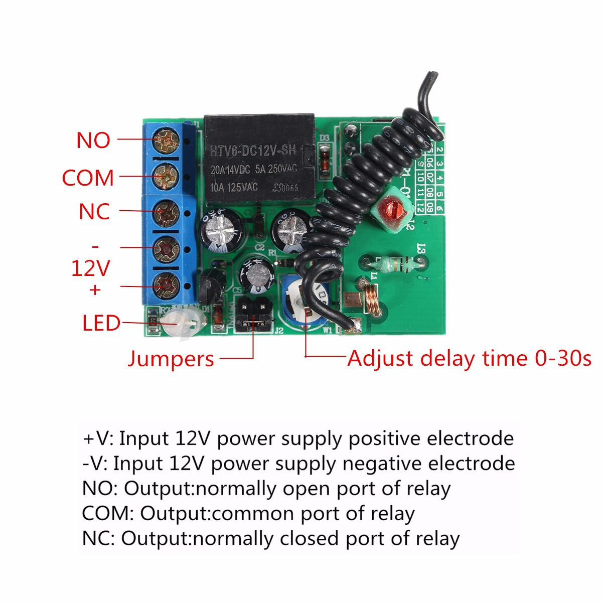 Delay Switch 12v Deselectra Electronics Smd Timer Off 1pcs Dc Relay Turn On Module 315 433mhz 1ch Wireless Remote Control Rf Time