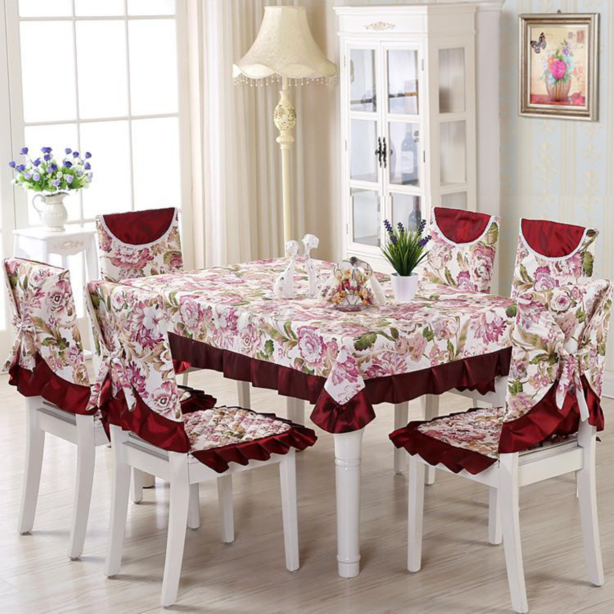 Vintage Floral Tablecloths Chair Cover Polyester Banquet