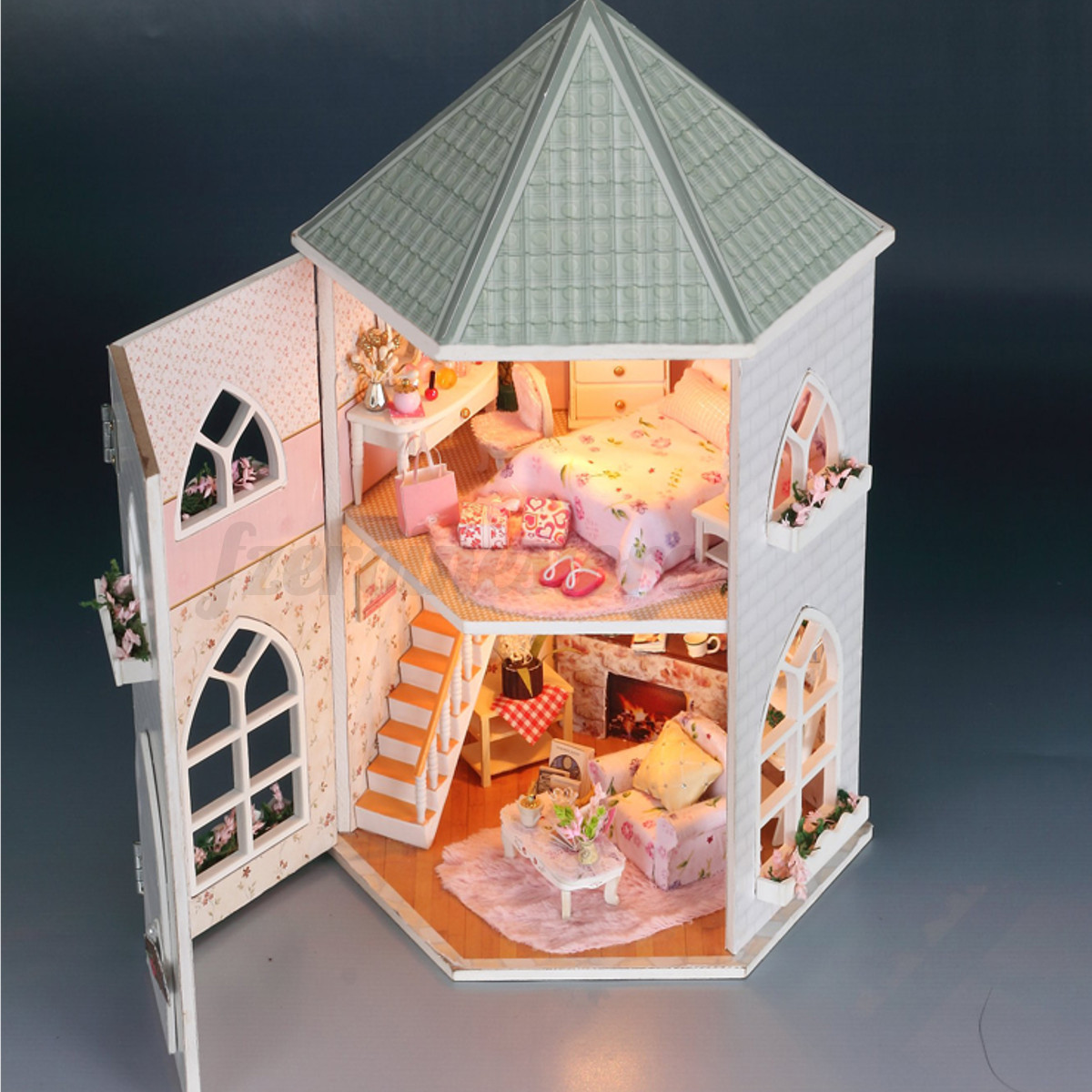 liebe schloss puppenhaus prinzessin zimmer diy dollhouse kit mit led beleuchtung ebay. Black Bedroom Furniture Sets. Home Design Ideas