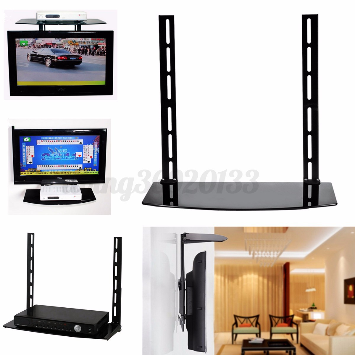 Glass dvd shelf floating wall mounted shelf bracket stand for Furniture 63366