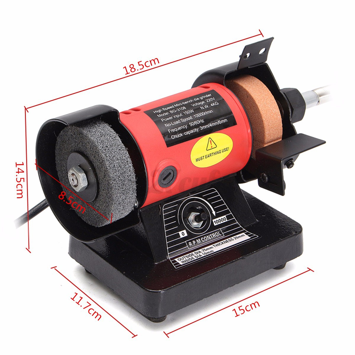 Mini Bench Grinder Flexible Shaft Buffer Grinding Polish Double Wheel Polisher