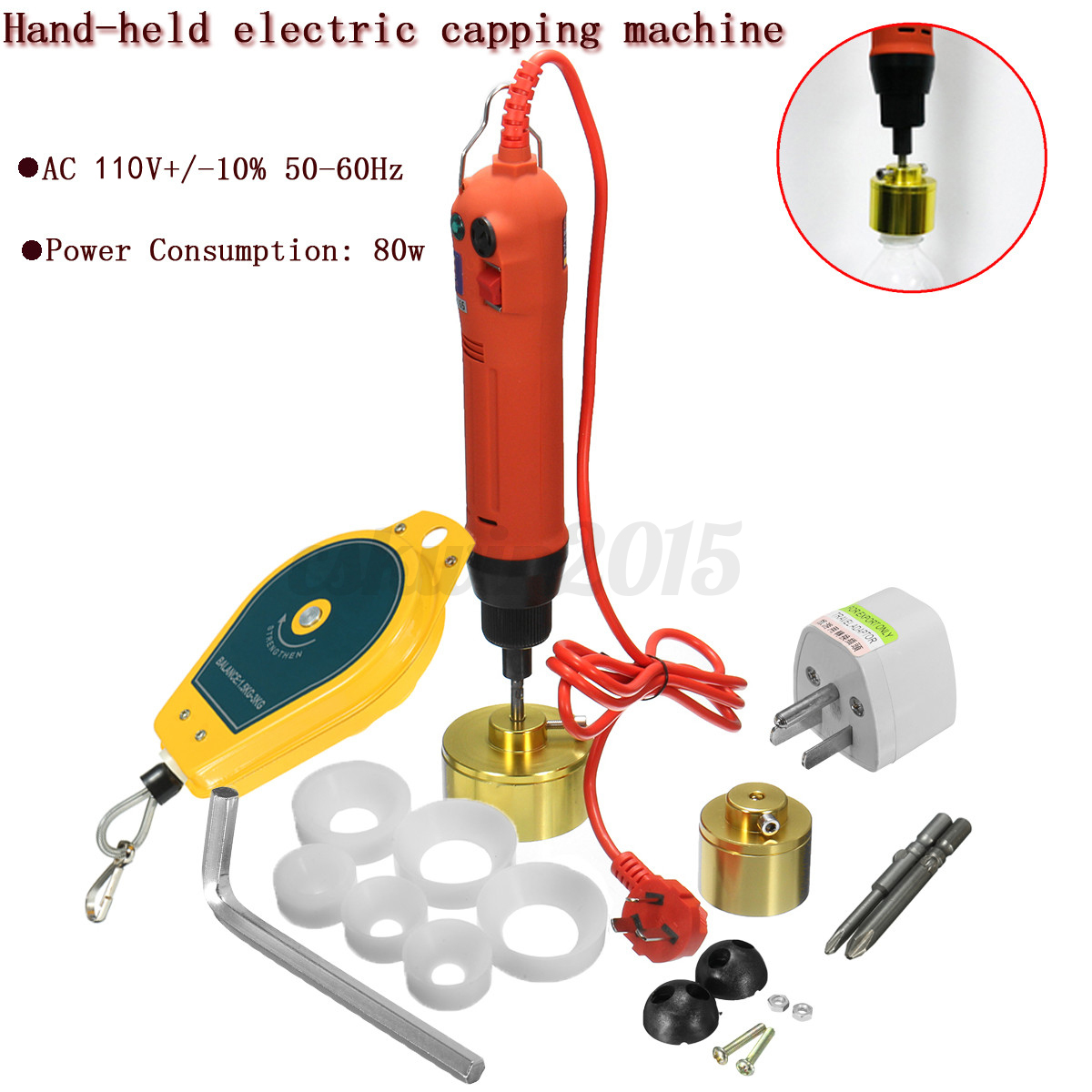 110v Hand Held Electric Capping Screw Bottle Capper Cap