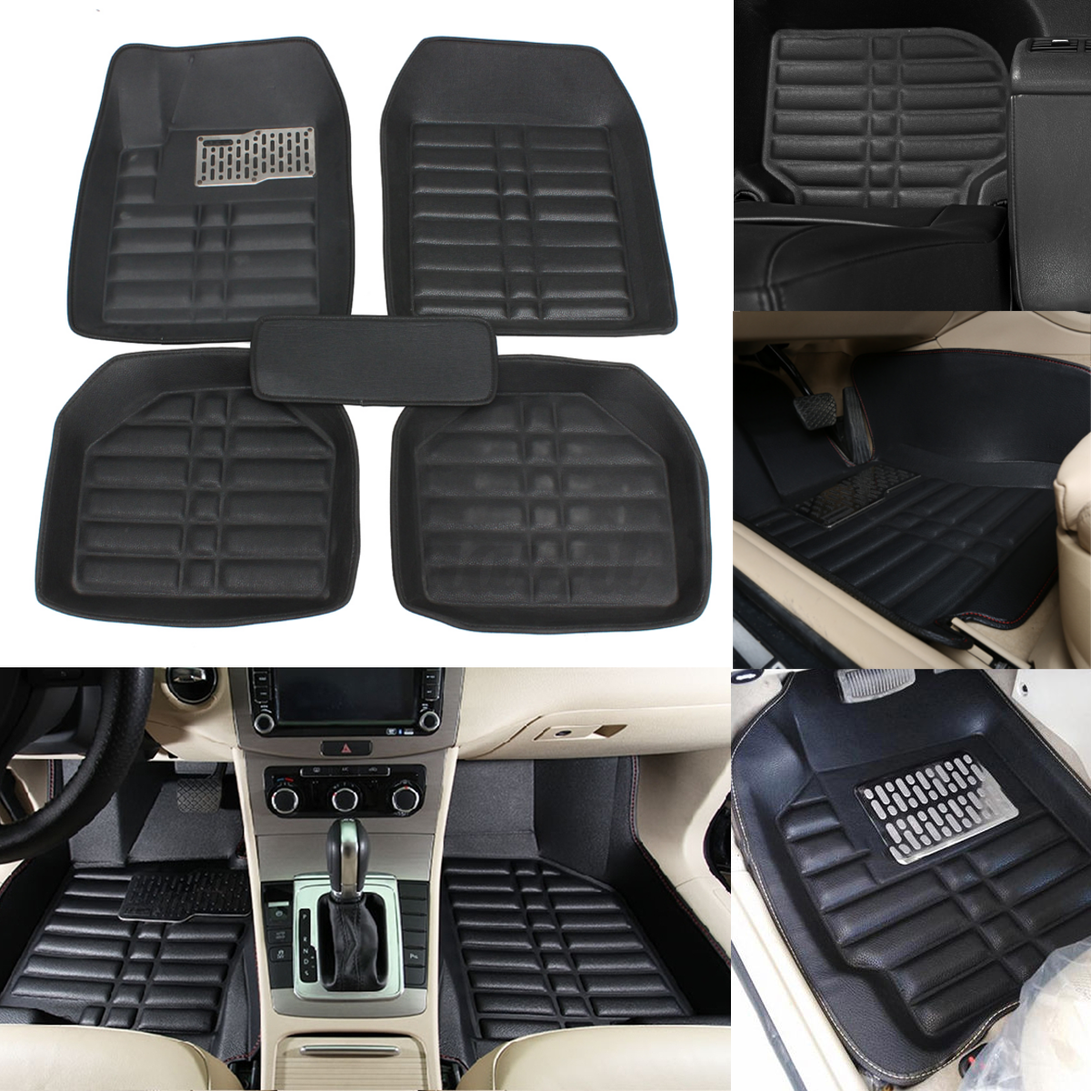 5pc car floor mats front rear liner waterproof all weather universal auto mat ebay. Black Bedroom Furniture Sets. Home Design Ideas