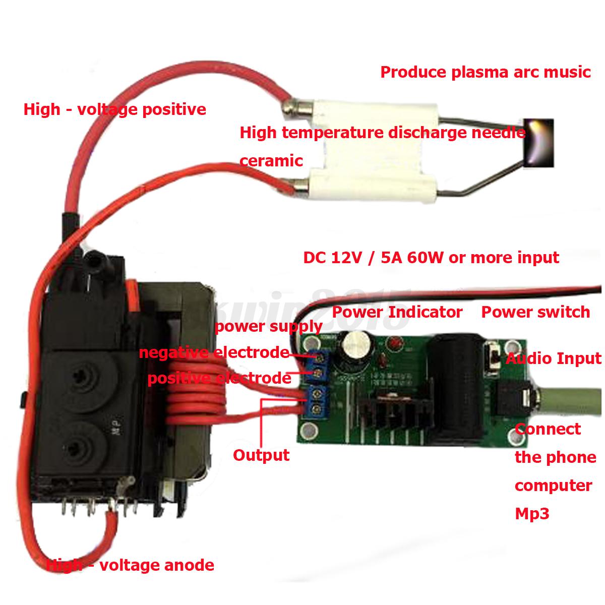 High Voltage Plasma : Kv hochspannung generator plasma musik lautsprecher zvs