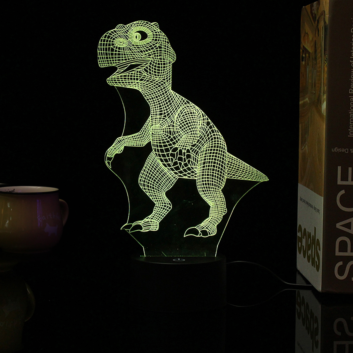 3D Illusion Dinosaur Model 7 Color Change Touch Switch