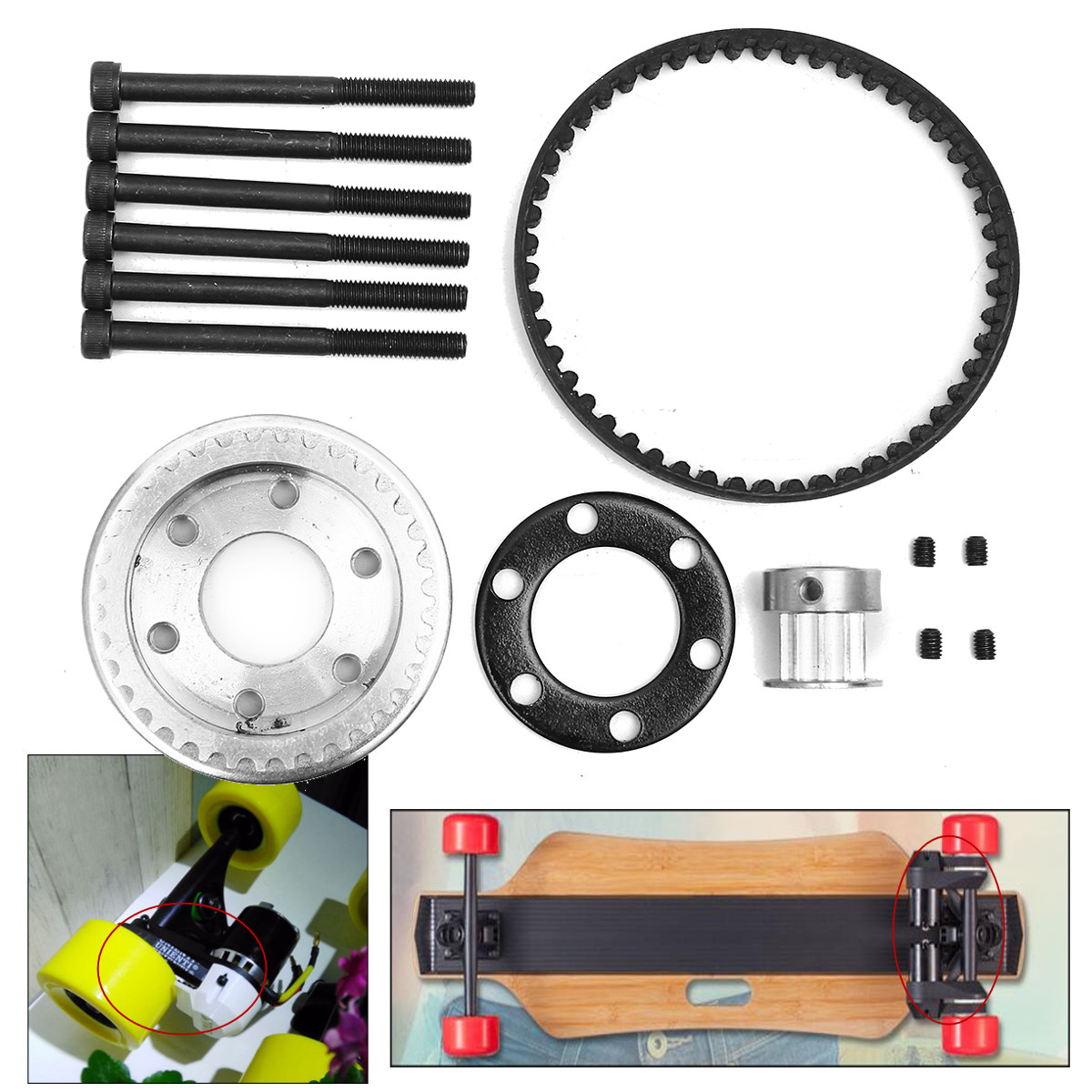 DIY Electric Skateboard Parts Pulleys And Motor Mount Kit For 83\/90\/97MM Wheels  eBay