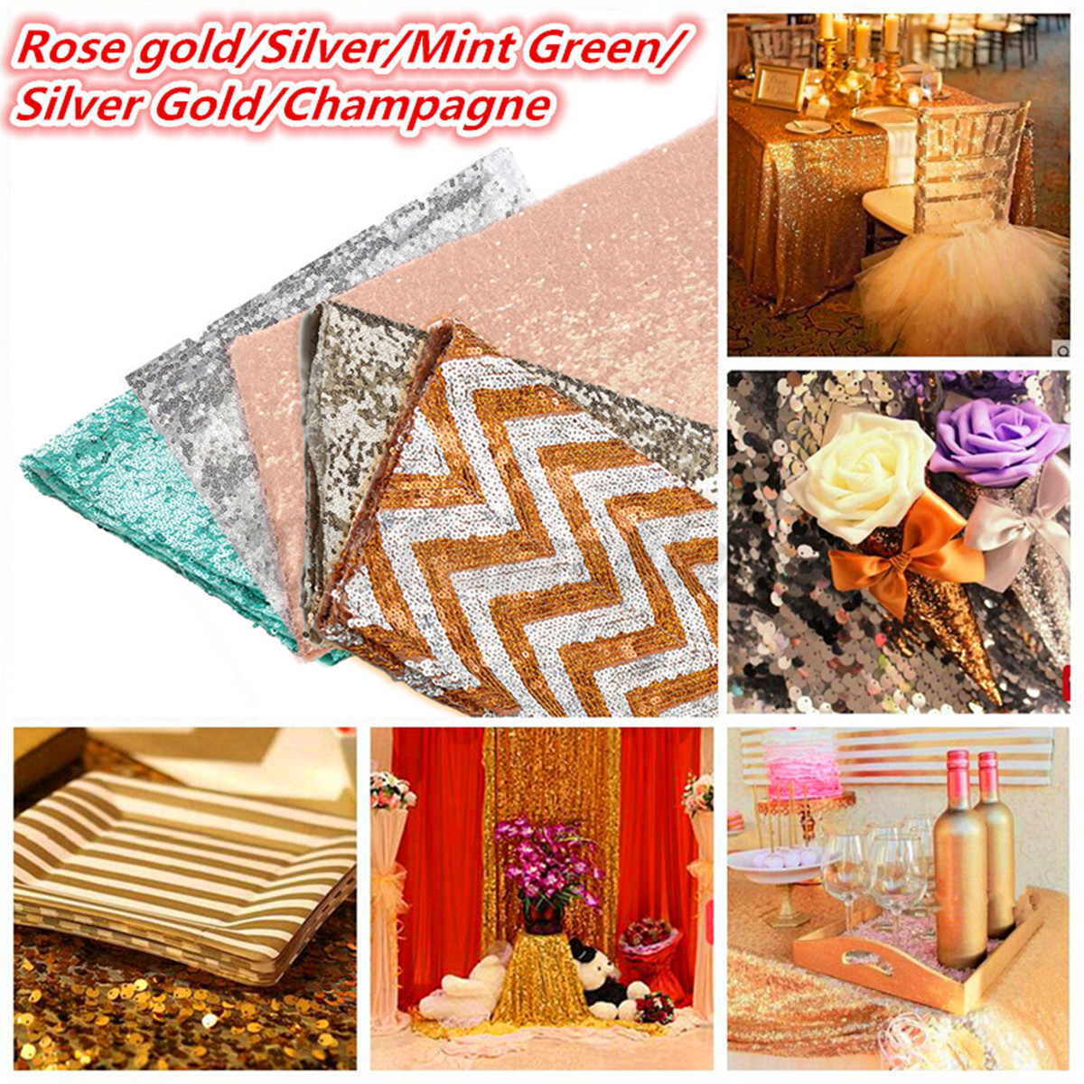 Image is loading Rectangle-Sequin-Tablecloth-Banquet-Table-Runner-Wedding- Reception- e7760c3df427