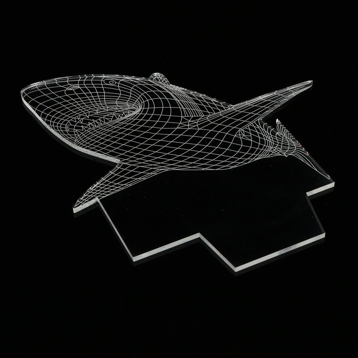 3D Illusion Shark Model LED Desk Lamp 7 Color Change Touch