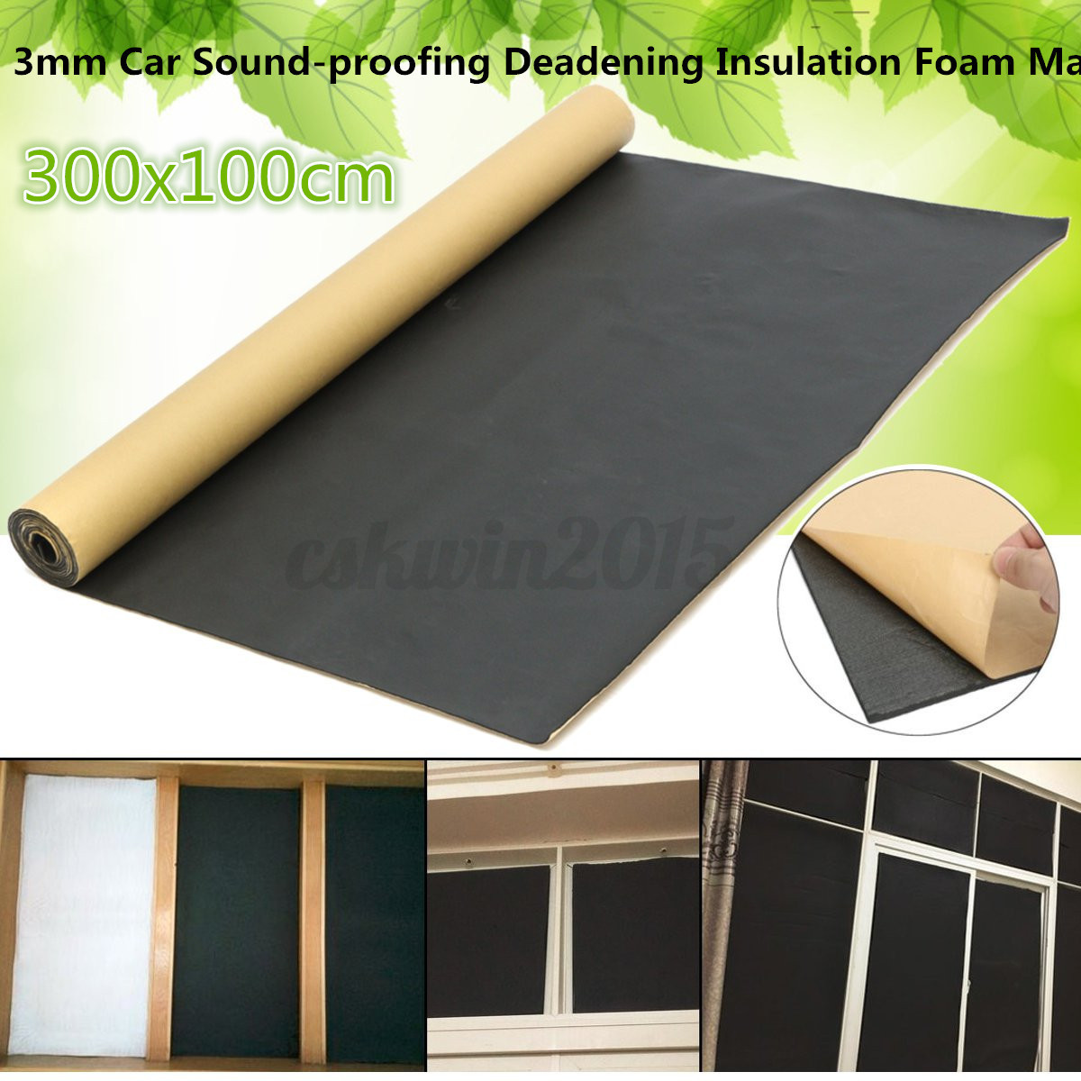 7x3ft 10mm Car Sound Proofing Foam Roll Mat Acoustic Panel