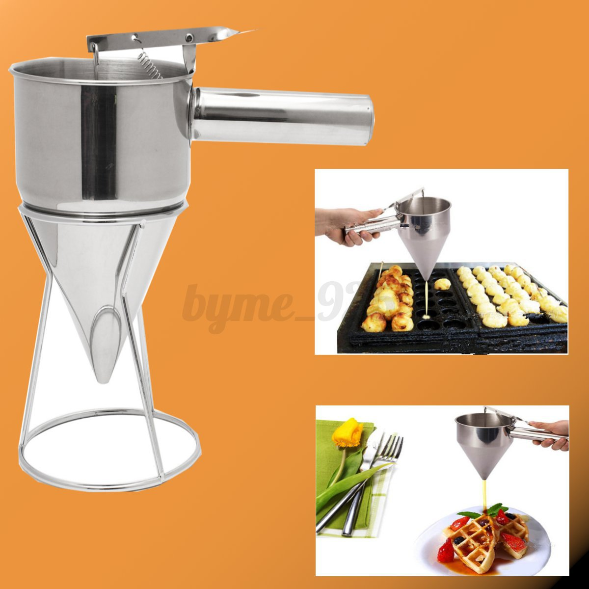 Stainless Steel Conical Funnel With Shelf Octopus Fish
