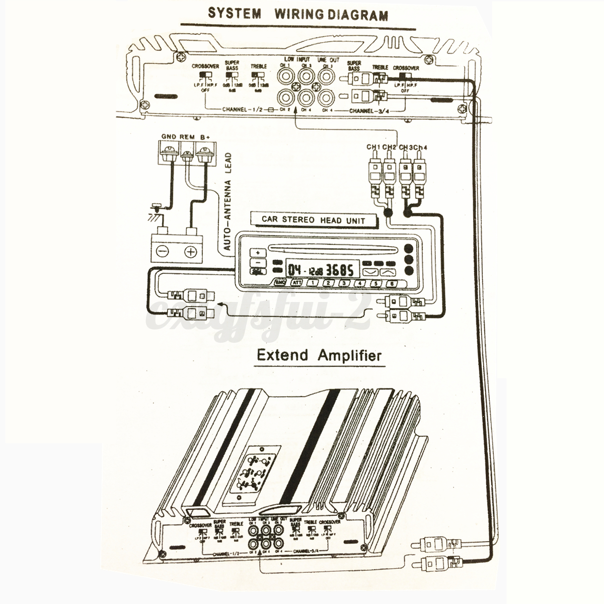 V rms ch channel car audio power stereo