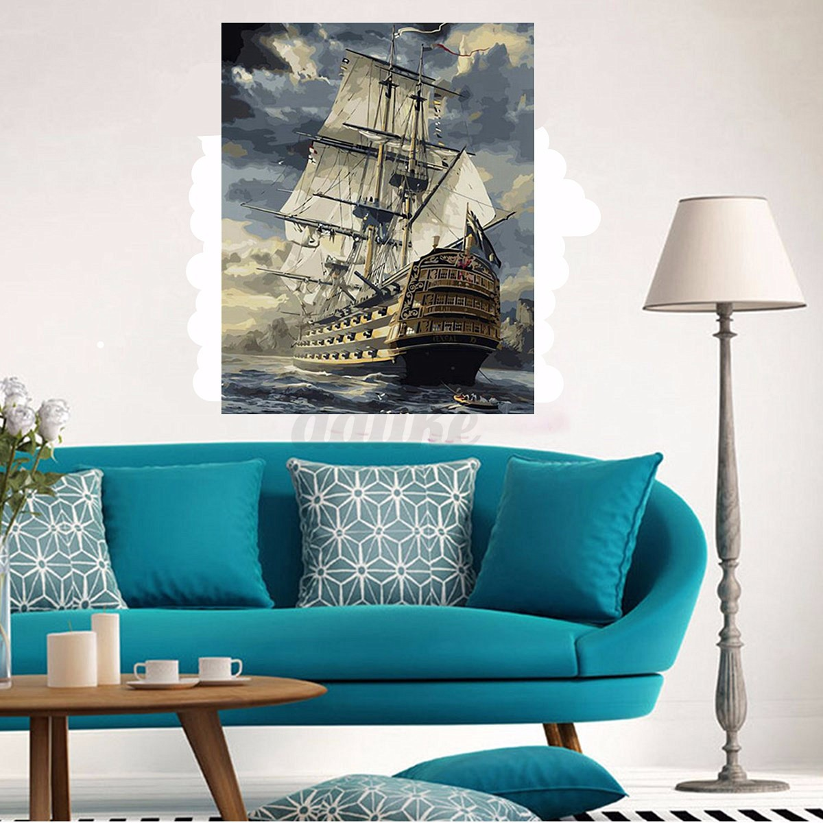 Wood framed 50x40cm diy paint by number kit canvas sailing for Ship decor home