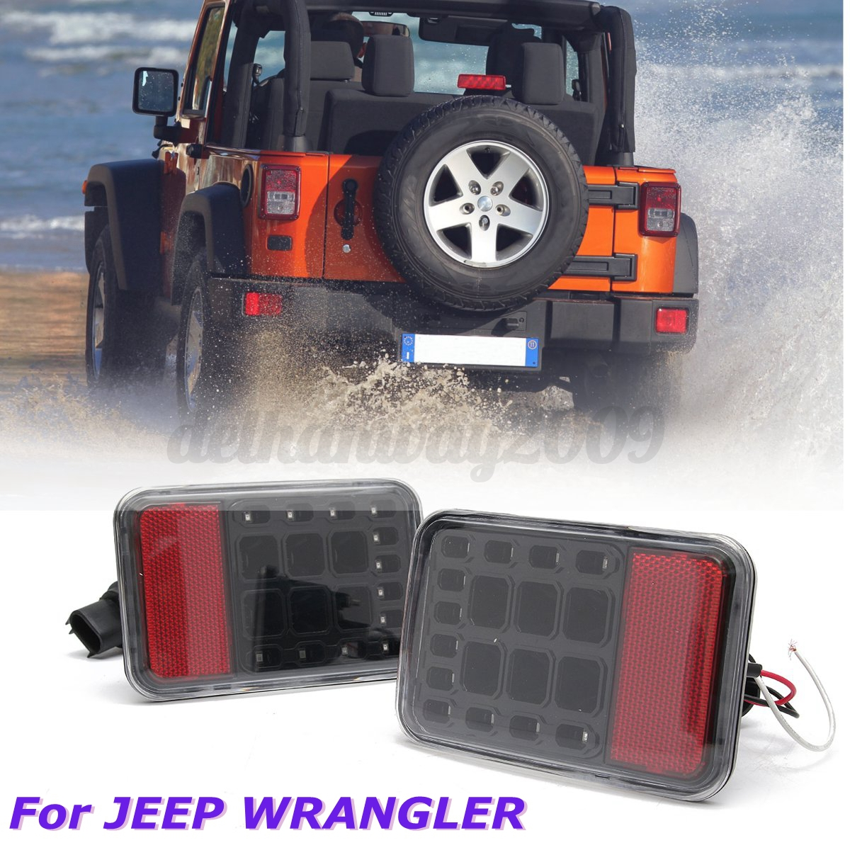 Jeep Tail Light Lenses : Pair clear led tail lights rear reverse signal lamps for