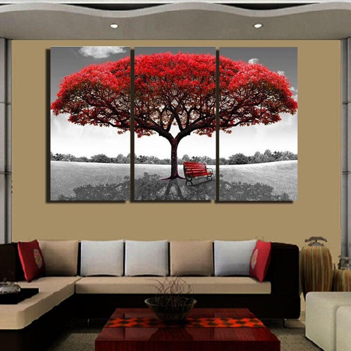 3pcs Red Queen Tree Canvas Painting Print Wall