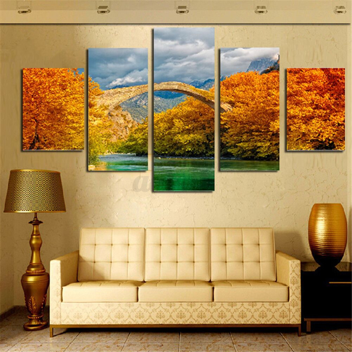 Hand Painted Flower City Canvas Painting Print Art Wall Bedroom Decor No Frame Ebay