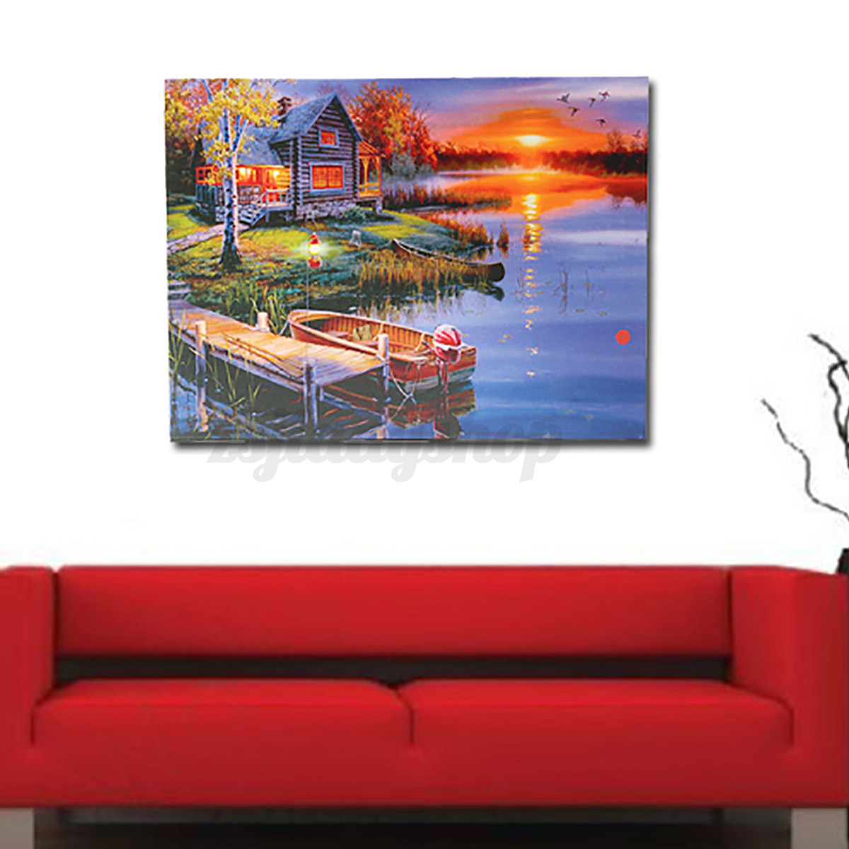 20 Battery Operated LED Light Lake Cabin Canvas Print Painting Home Wall Decor eBay
