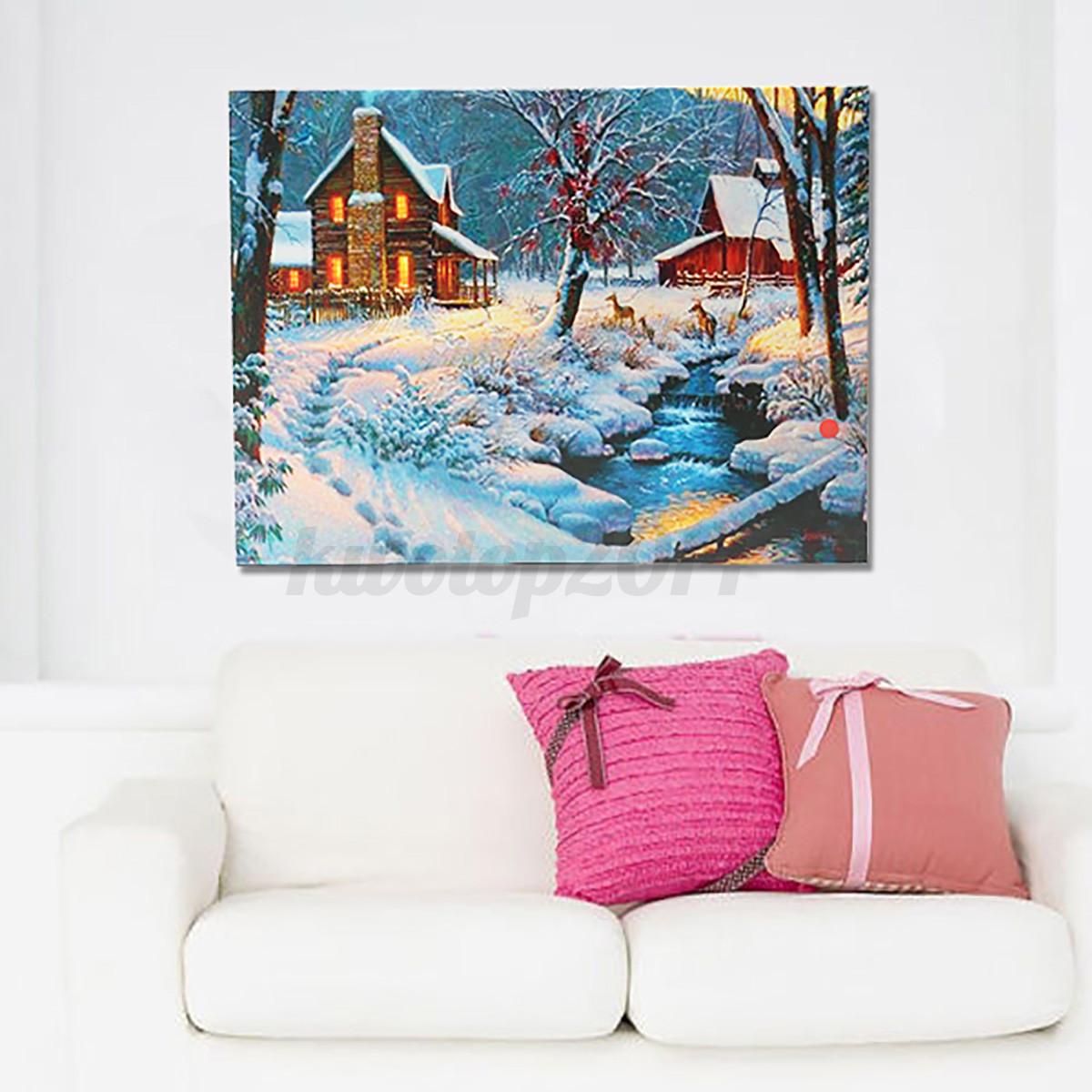 led lighted light up 20 39 39 snow cabin canvas art picture. Black Bedroom Furniture Sets. Home Design Ideas