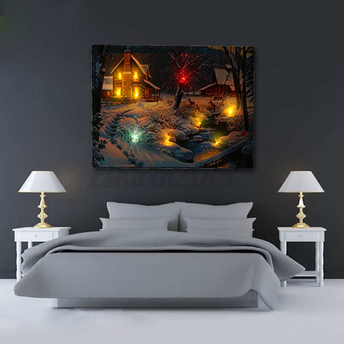 LED Light-up 20 Batteries Operated Snow Cabin Canvas Print Wall Decor Unframed