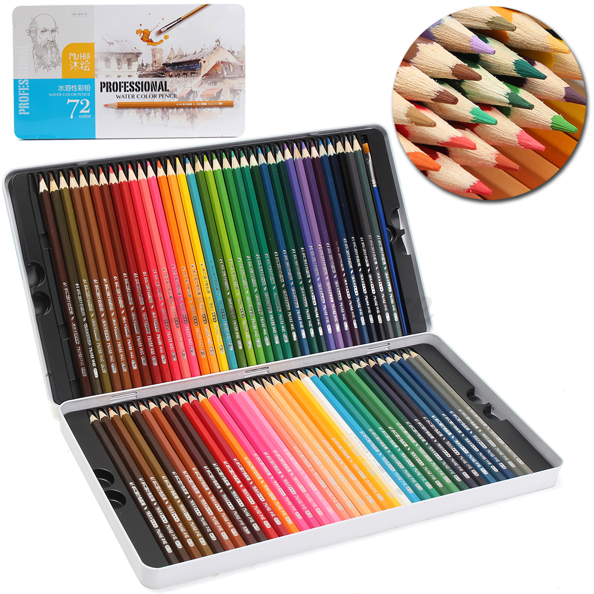 72 Colored Pencils Premium Art Drawing Water Sketching Soft Core Lead Set & Case