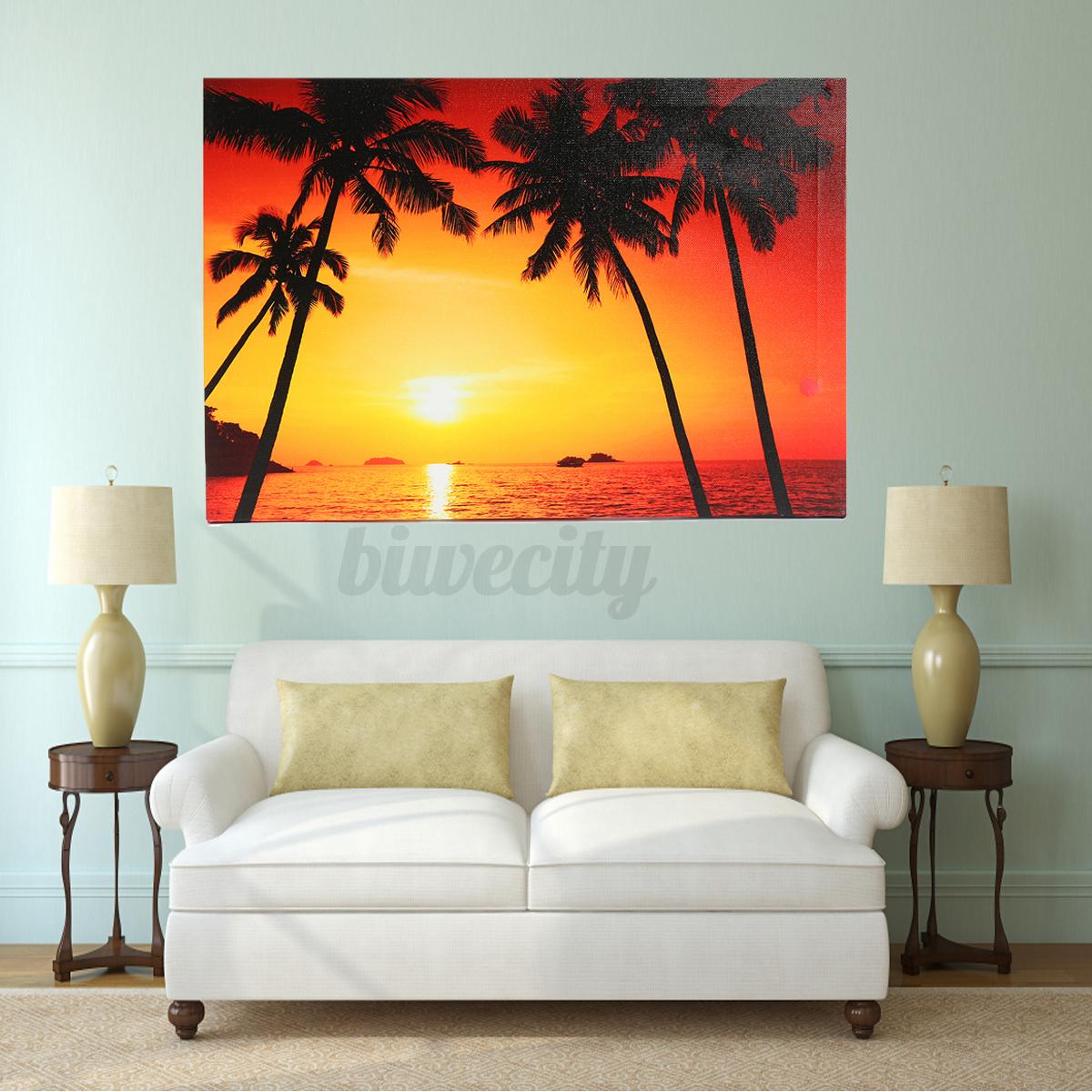 led light up sunset beach canvas print picture print wall hanging decor framed ebay. Black Bedroom Furniture Sets. Home Design Ideas