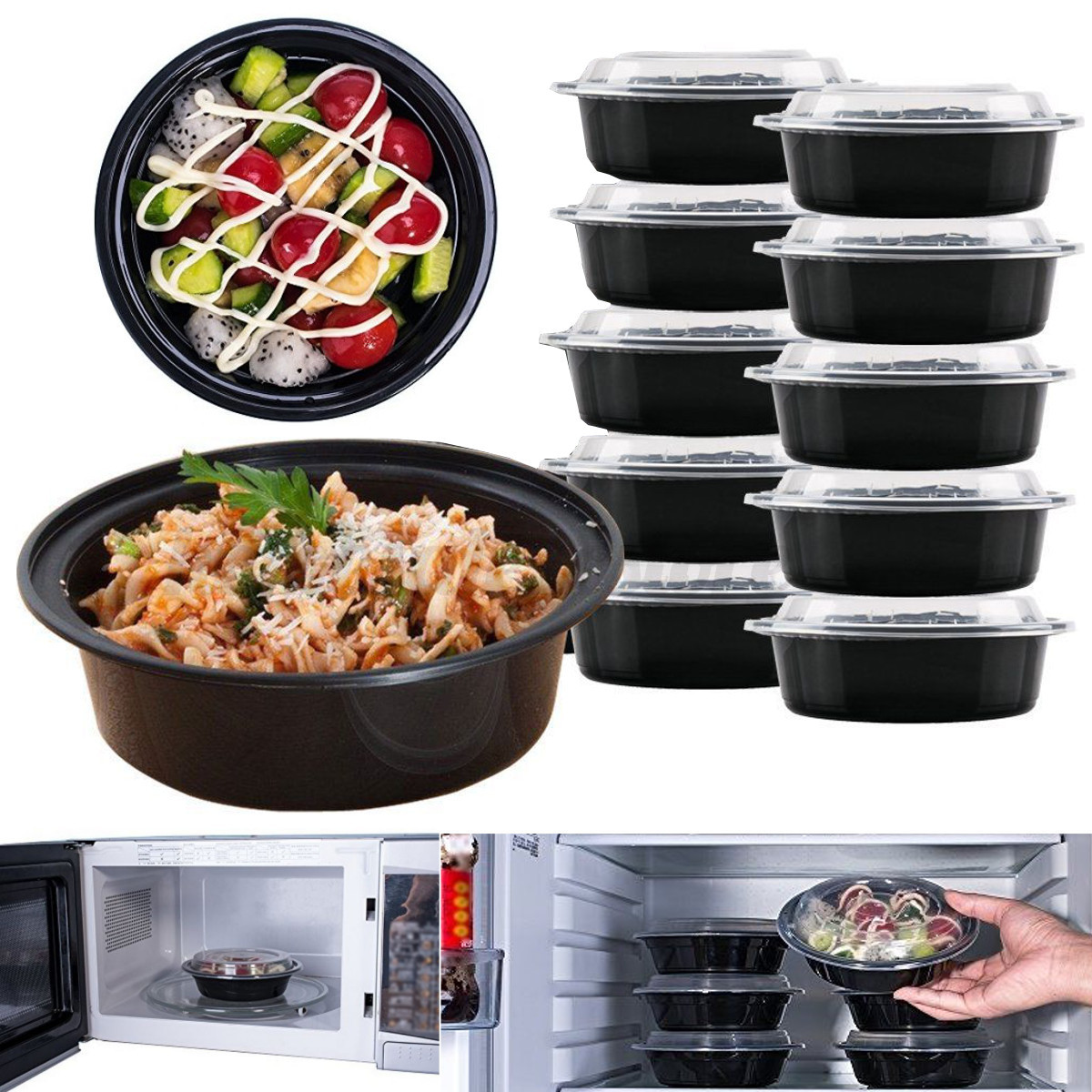 16oz meal prep 6 round food containers with lids microwavable plastic bpa free ebay. Black Bedroom Furniture Sets. Home Design Ideas