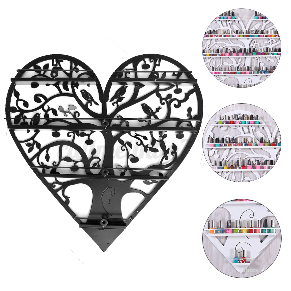 4 Tier Heart Metal Wall Mounted Nail Polish Rack Organizer Display Holder Shelf
