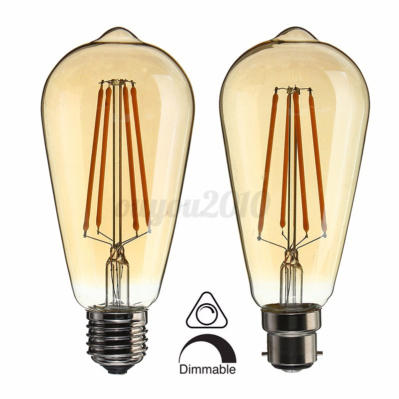 edison gl hbirne dimmbar led e27 b22 st64 6w lampe retro gl hlampe leuchtmittel ebay. Black Bedroom Furniture Sets. Home Design Ideas