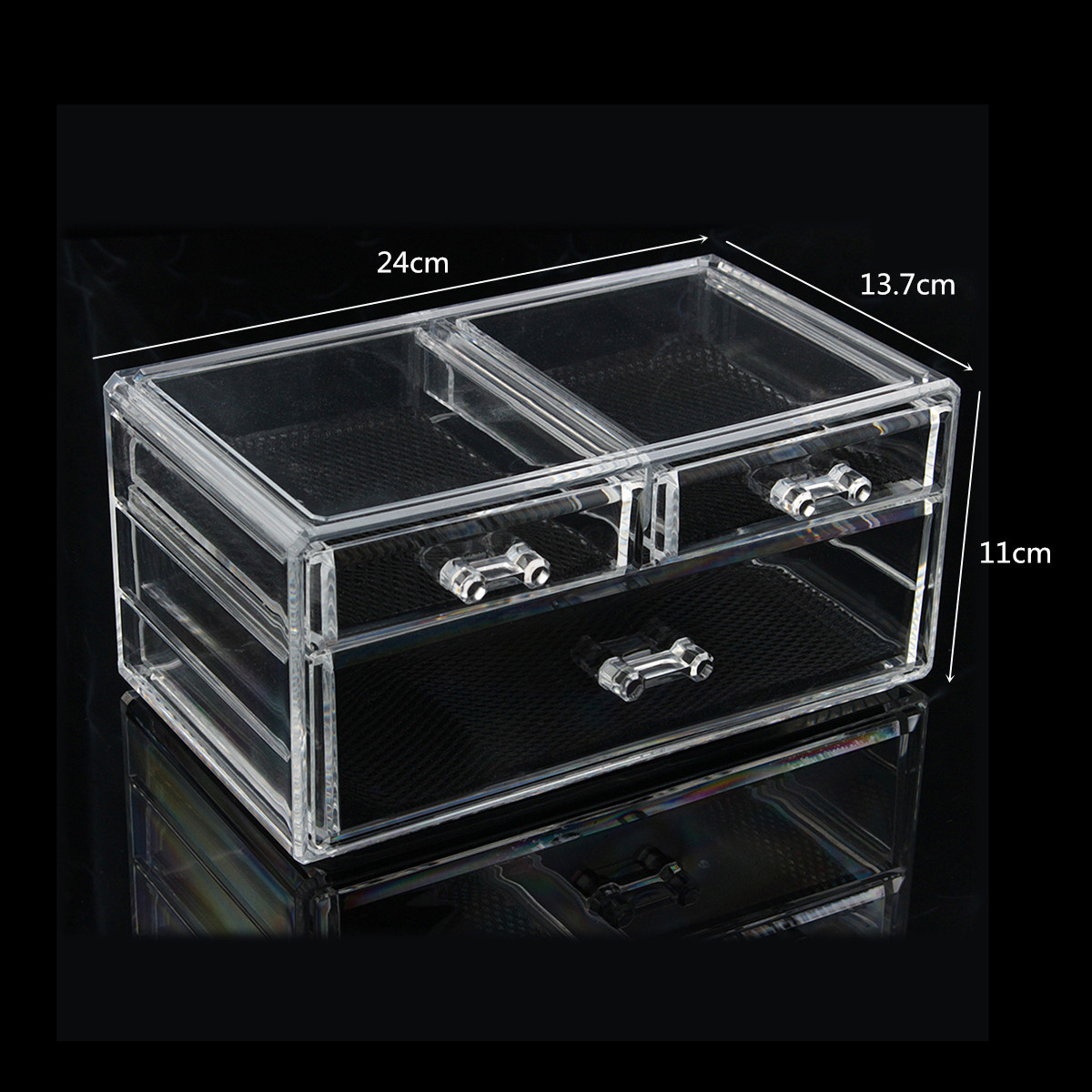 Clear Acrylic Makeup Cosmetic Organizer Case Jewelry