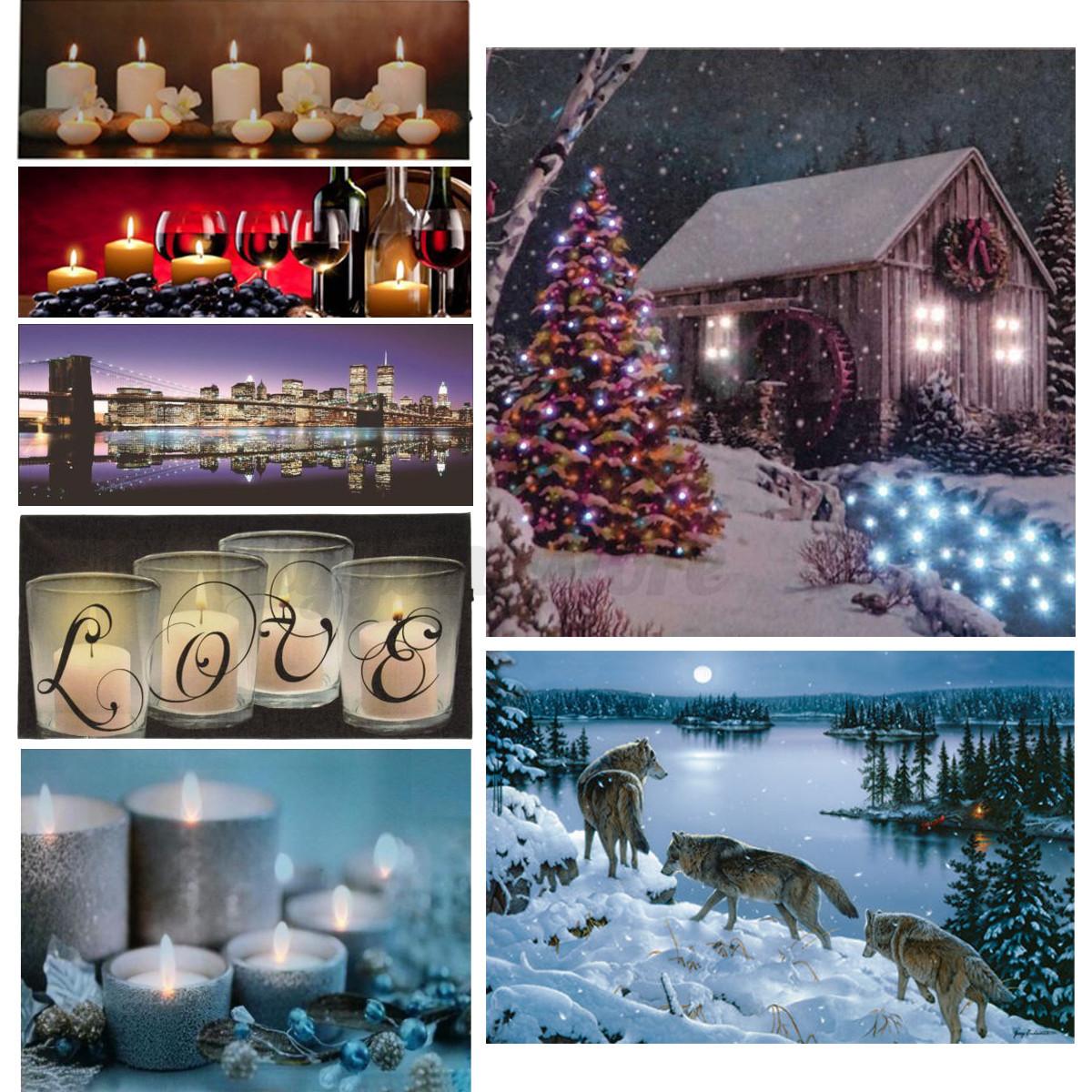 light up led lighted christmas river horses wall art home. Black Bedroom Furniture Sets. Home Design Ideas