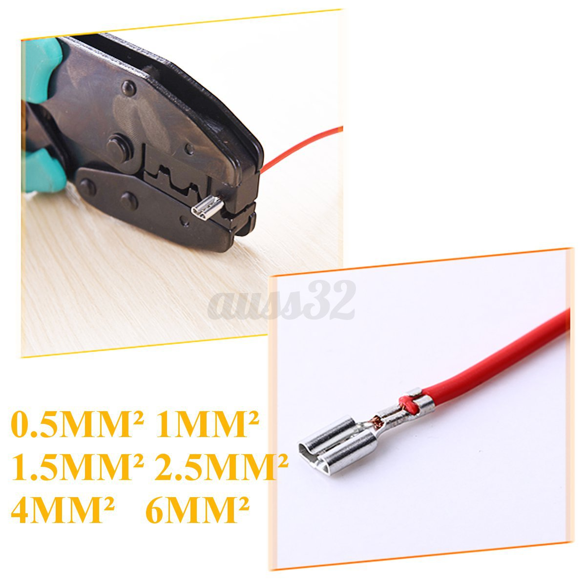 230C Ratchet Wire Crimper Insulated Bare Terminal Jaw For Crimping Plier Black !
