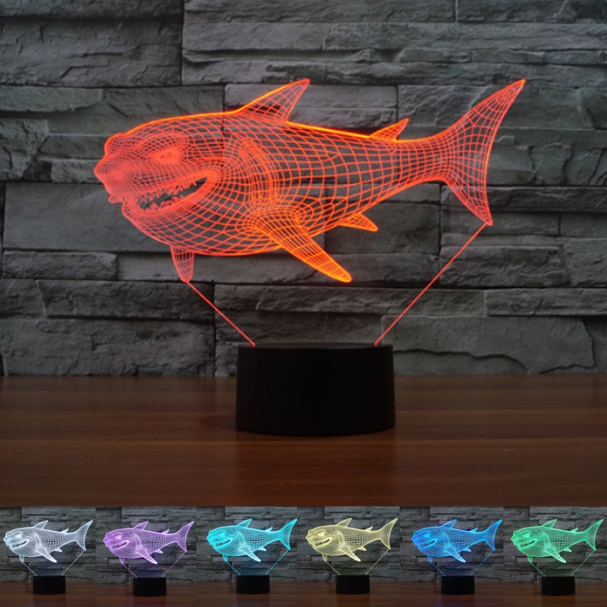 3d Illusion Visual Night Light 7 Colors Change LED Desk Lamp Bedroom ...