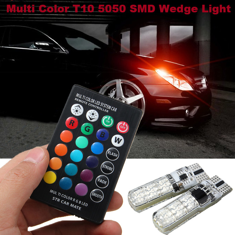 2x 6 smd led t10 rgb car interior dome reading light lamp bulb remote control ebay. Black Bedroom Furniture Sets. Home Design Ideas